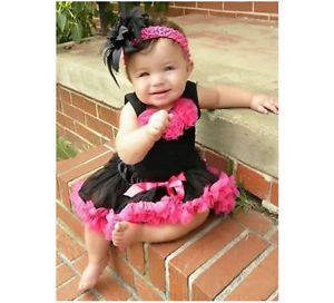 2pcs Baby Girl Kids Top Skirt Dress Tutu Pettiskirt Cloth Costume Black 1 4Y