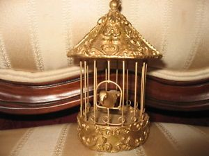 Ornate Gold Tone Vintage Mini Carousel Style Bird Cage Bird Xmas Ornament