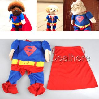 Pet Cat Dog Puppy Cotton Clothes Costumes Superman Suit Size XS s M L XL