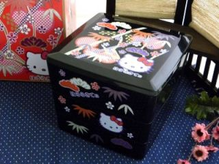 3 Tier Hello Kitty New Year Snack Candy Trinket Box Bento Food Container Black