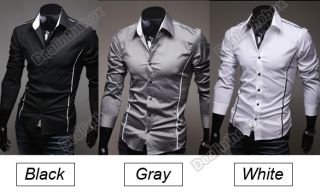 2012 Korean Fashion Men's Stylish Casual Trim Slim Fit Dress Shirt Long Sleeve