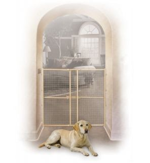 "Midwest 44"" Tall Wire Mesh Wood Dog Pet Gate Adjustable Width 29"" 50"""