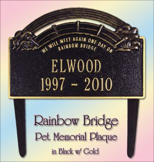 Personalized Pet Rainbow Bridge Memorial Marker Plaque