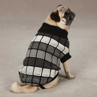 Dog Chenille Block Sweater Cozy Winter Black Puppy Pet Clothes XXS XS s M L