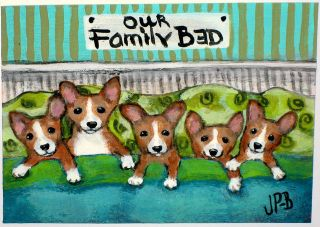 Original Art ACEO Corgi Painting 'Our Family Bed' Puppy Love Dogs by Jane