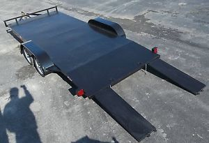 Steel Floor 18' Car Hauler Trailer with Slide Out Ramps