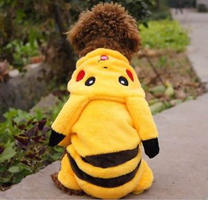 Cute Pikachu Dog Clothes Puppy Soft Costume Hoodie Coat Pet Gift Medium Size
