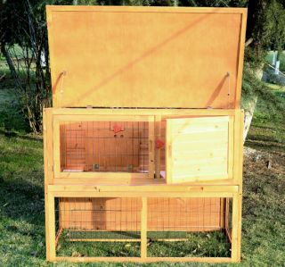 New Deluxe Wooden Rabbit House Wood Rabbit Hutch Little Pet Cage 3 Doors