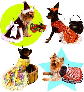 OOP Pet Dog Apron Dress Santa Witch Hats Costume Sewing Pattern Simplicity 3521