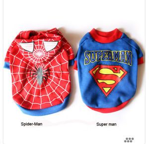 Spiderman and Superman Dog Pet Costume Apparel T Shirt
