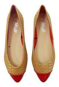 New Womens Ladies Snake Skin Red Flats Pumps Ballerinas Casual Formal Women Size