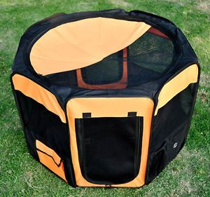 "New 36"" Deluxe Folding Pet Playpen Soft Sided Puppy Dog Cat Crate Orange Black"
