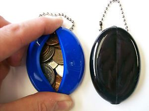 2 Soft Rubber Squeeze Oval Coin Holder Purse Keychain Money Change Bag USA Made