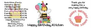 Birthday Water Bottle Labels Bumble Bee Girl 24 Qty