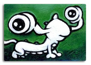 Graffiti ACEO Cool Lizard Abstract Reptile Art Painting