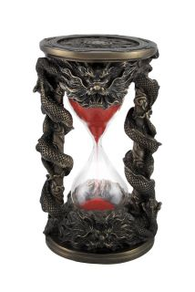 Bronzed Chinese Dragon Hour Glass Sand Timer