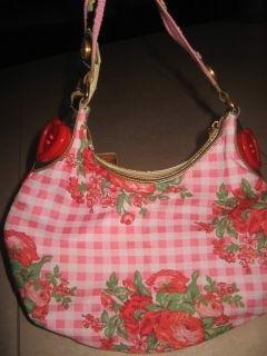 Betsey Johnson Betseyville Sweetheart Rose Floral Gingham Plaid Bag Purse Hearts