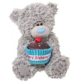 "Me to You Tatty Teddy Happy Birthday Bear Boy Blue Cupcake 8"" by Douglas New"