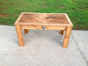 Cowhide Coffee Table Concho Brindle Rawhide Western Decor Made in USA