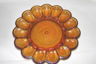 "Indiana Iridescent Carnival Glass Amber Egg Relish Tray 11 25"" Serving Platter"