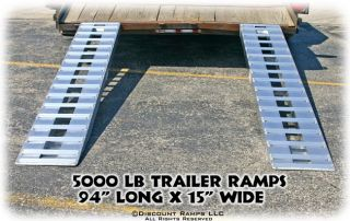 "94"" 5000 lb Aluminum Truck Car Trailer Ramps Hook Ends 05 15 094 04"