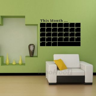 Weekly Monthly Planner Calendar Chalk Blackboard Removable Wall Sticker Decal