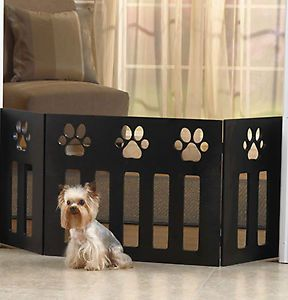 New Wooden Free Standing Paw Print Dog Puppy Pet Gate Fence Barrier Small