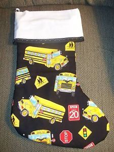 Handmade Christmas Stocking School Bus Print