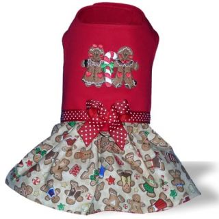 Dog Clothes Christmas Holiday Dress Gingerbread Boy Girl Yorkie XS SM or Med