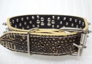 2'' Wide Gator Gold Leather Spiked Studded Dog Collars Pitbull Terrier L 19 22''