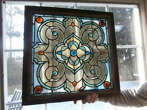 RARE Antique Victorian Jeweled Stain Glass Window Fabulous