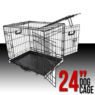 "24"" Small Folding Wire Dog Puppy Crate Cage Kennel 3 Doors Divider Suitcase New"
