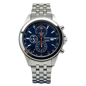Seiko Men's SNDF01 Stainless Steel Chronograph Blue Dial Watch