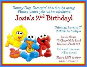 Baby Sesame Street Characters Personalized Birthday Invitations Style 2