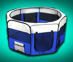 "New Deluxe 48"" Pet Dog XL Playpen Kennel Exercise Pen Crate Blue w Carrying Bag"