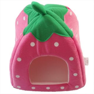 1pcs Lovely Soft Strawberry Pet Cat Dog Kennel Bed House with Warm Mat 3 Sizes