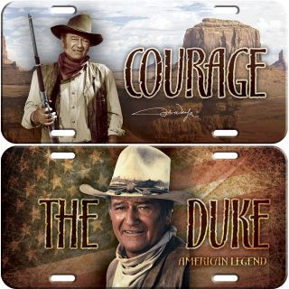 New John Wayne The Duke Courage American Legend License Plates Set of 2