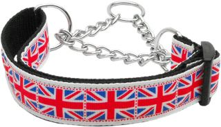 Tiled Union Jack Nylon Martingale Chain Limited Slip Loop Pet Dog Collar