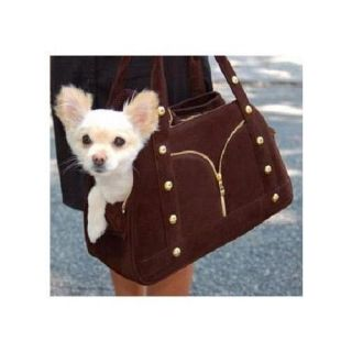 Designer Studded Faux Leather Small Dog Purse Carrier Brown