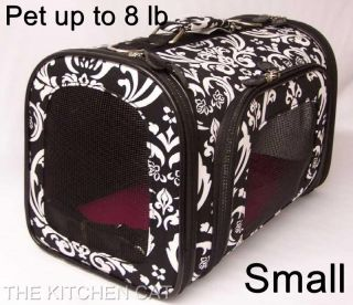 Pet Carrier Small Dog Travel Bed Tote Chihuahua Yorkie Brown Damask Blue Trim