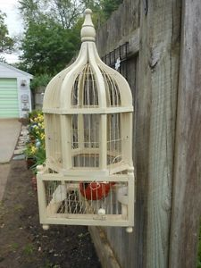 "1 Vintage Style Wood Metal Decorative Footed Hanging Bird Cage 9""Wx18 5""H"