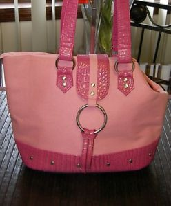 Designer Pink Canvas Pet Dog Purse Tote Shoulder Strap Carrier Extra Small