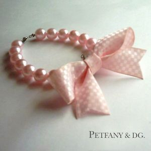 Pink Bow Pearl Dog Cat Collar Pet Necklace Chihuahua Small Dog Glass Pearls