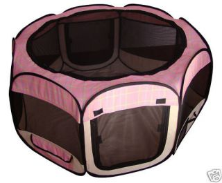 New Pink Grid Pet Dog Cat Tent Puppy Playpen Exercise Pen Soft Crate Small