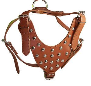 "Studded Leather Dog Harness Rottweiler Boxer 25"" 33"""