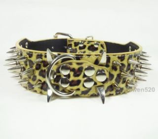 Brand New Spiked Studded Leather Big Dog Collar Pitbull Mastiff Terrier s M L XL