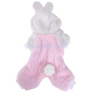 Pet Dog Coat Jumpsuit Velveteen Rabbit Hoodie Hooded Costume Outfit Size XS