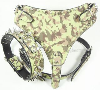 Spiked Studded Pitbull Husky Boxer Camouflage Leather Dog Harness Collars Set