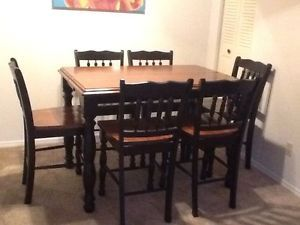 Black Cherry Stain Finish Pub Table Dining Set