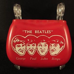 Vintage 60s Original Beatles Red Vinyl Coin Change Holder George Paul John Ringo